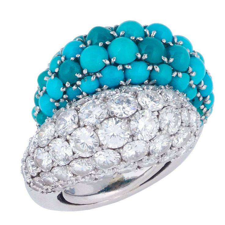 "VAN CLEEF & ARPELS Turquoise and Diamond ""Double-Boule"" Ring, ca. 1960s"