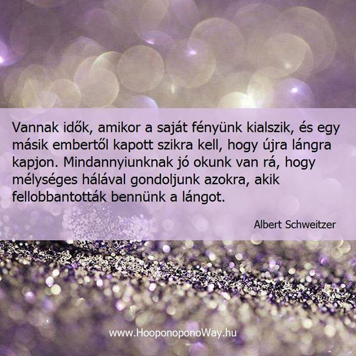 Albert Schweitzer bölcsessége a lelkesítésről. A kép forrása: Ho'oponoponoway Magyarország # Facebook