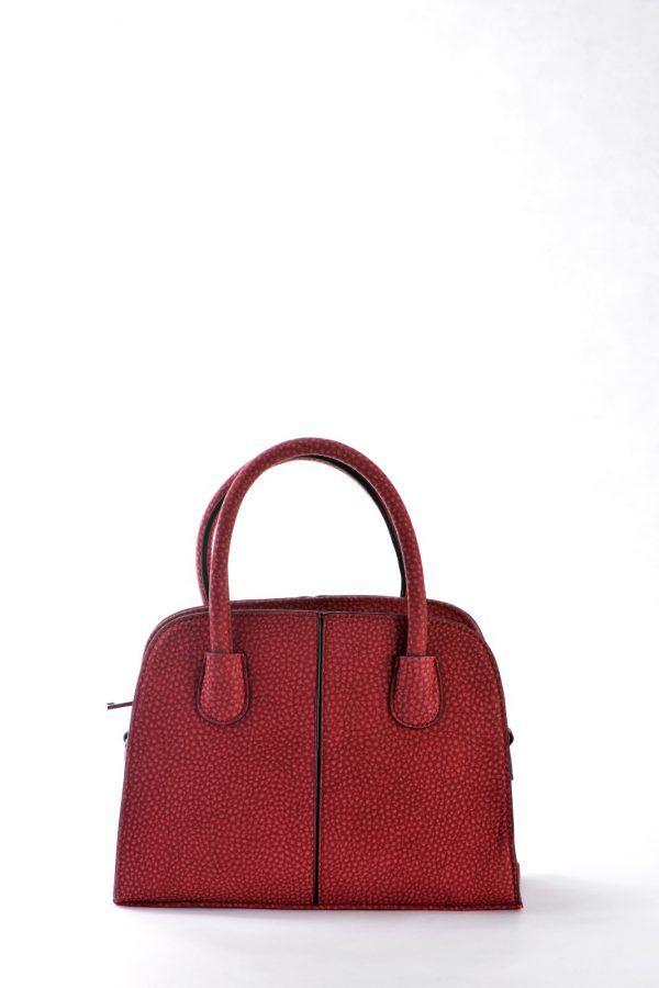 Mini Τσάντα ώμου – χειρός σε χρώμα κόκκινο σκούρο.  Νεανικό μοντέρνο σχέδιο με πολύ ωραία υφή.  Εσωτερικά μπεζ φόδρα (με λουλούδια),