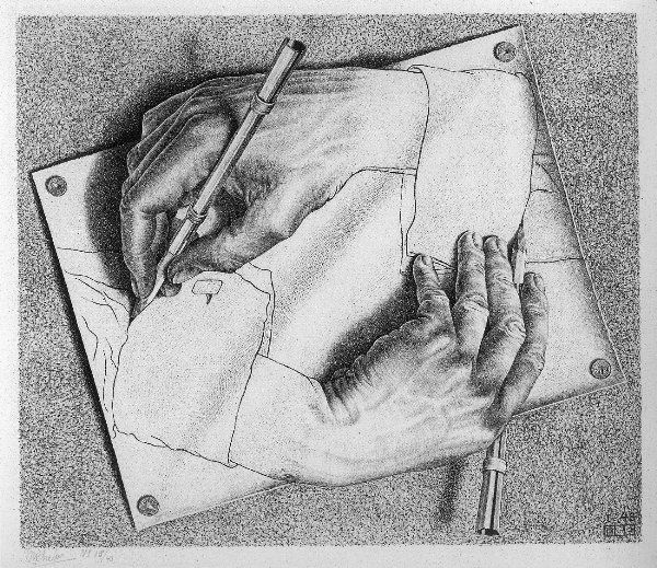 32. M.C. ESCHER – Drawing Hands, 1948, lithograph - Escher is one of the greatest masters of printmaking and illusion of the 20th century. In this lithograph, he shows a neverending circle of creation through two drawing hands.