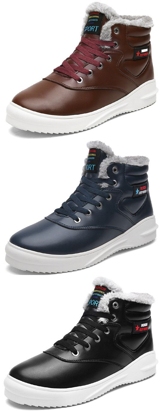 US$37.54 Men Microfiber Leather Waterproof Warm Plush Lining Ankle Boots#fashion  boots#