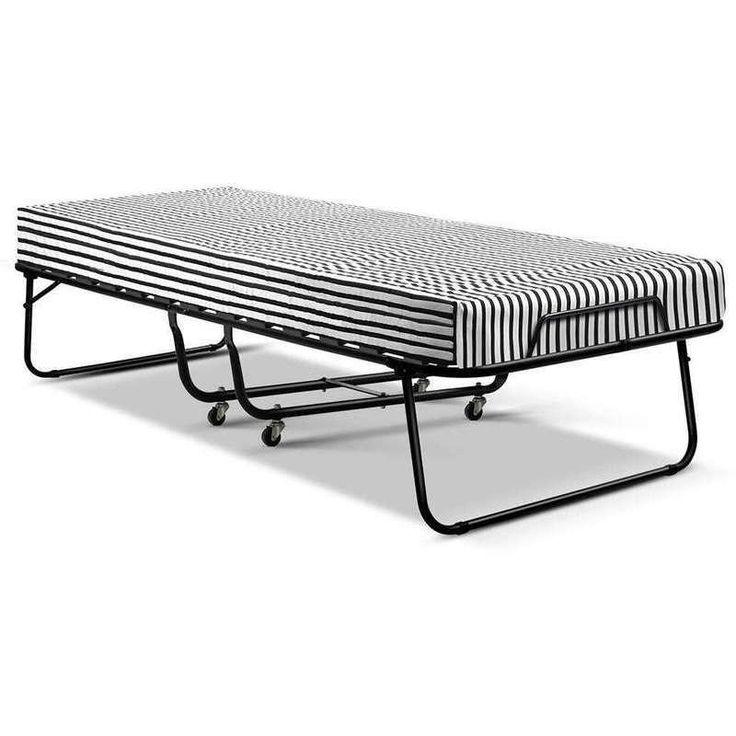 Wheeled Single Folding Bed Frame with Foam Mattress   Buy Single Bed Frame