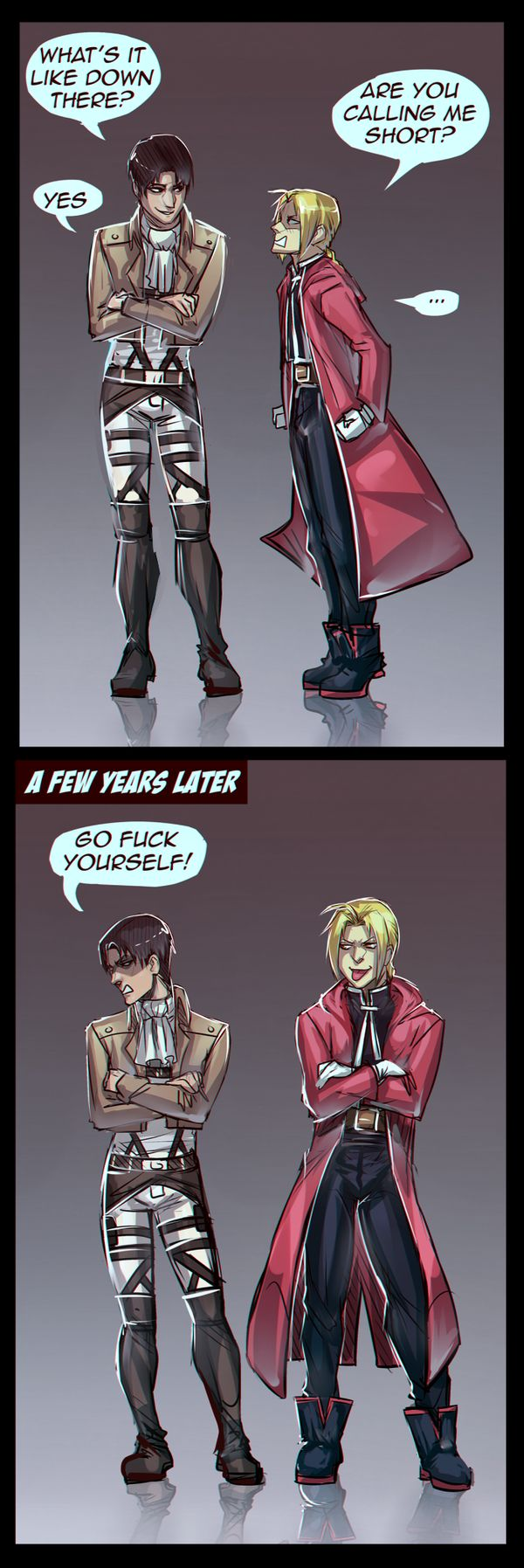 snk/fma - Edward and Levi. Haha, who's shorter now?