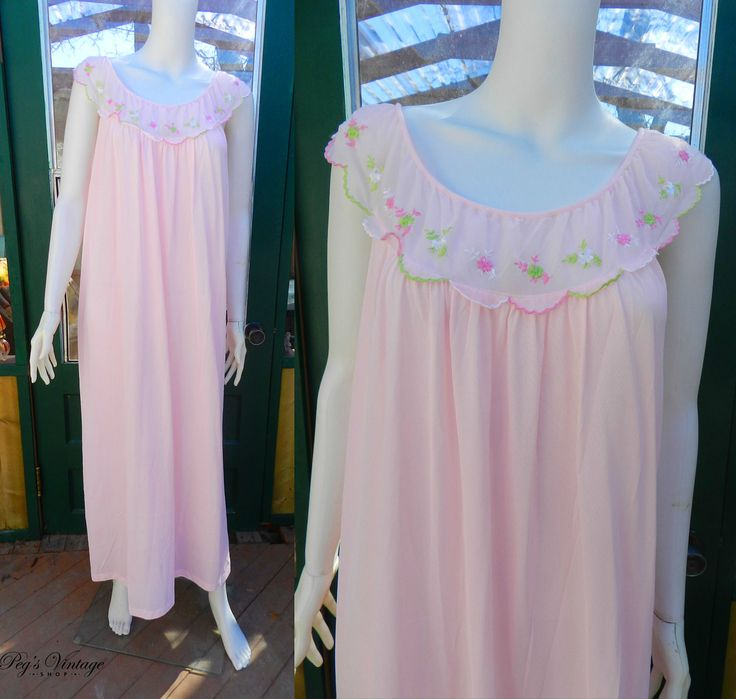 Vintage  Pink Satin Nightgown, Vintage Chiffon Floral Embroidered Nightgown, Romantic  Pink Lingerie Size M/L by PegsVintageShop on Etsy
