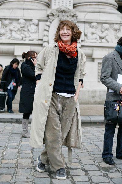 Jane Birkin in a raincoat
