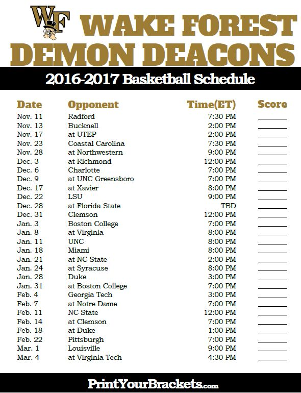Wake Forest Demon Deacons 2016-2017 College Basketball Schedule