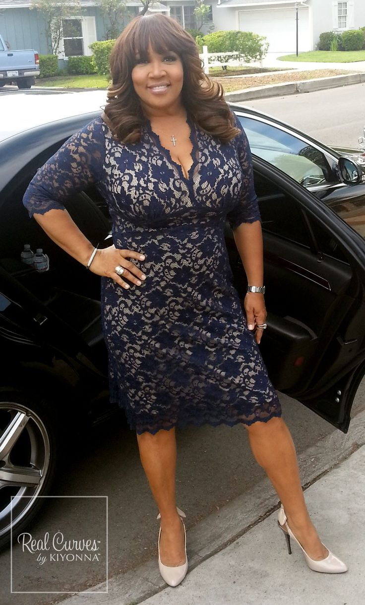 "Celebrity Kym Whitley (5'10"" and a size 1x) looked AH-mazing on her way to her Huffington Post interview. It looks like our plus size Scalloped Boudoir Lace Dress was made for her.  #KiyonnaPlusYou #Kiyonna #Plussize"