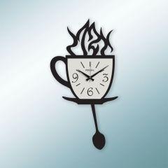 Lazer Kesim Kahve Fincanı Siyah Duvar Saati 1157B