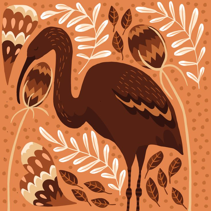 Birds of Mallorca - Glossy Ibis by Studio Brun  Inspired by the abundant wildlife of Mallorca I made this series of illustrations of Mallorcan birds (Hoopoe, glossy ibis, purple swamp hen and siskin).