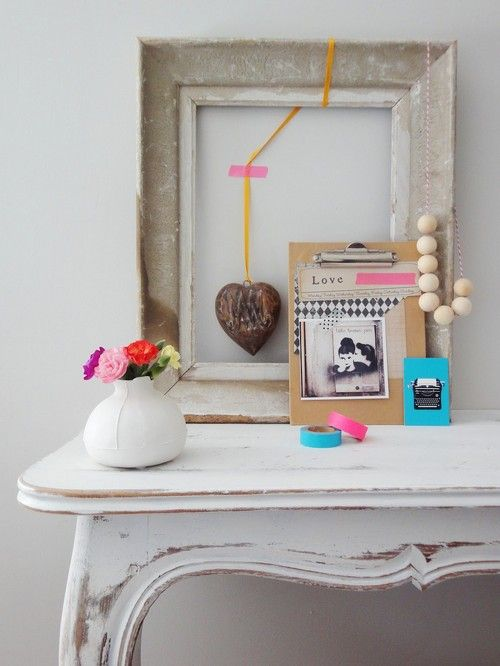 centered around a cool old frame.: Distressed Tables, Colour Addiction, Spring Bright, Inspiration, Empty Frames, Decor Details, Dreams House, Old Frames, Washi Tape