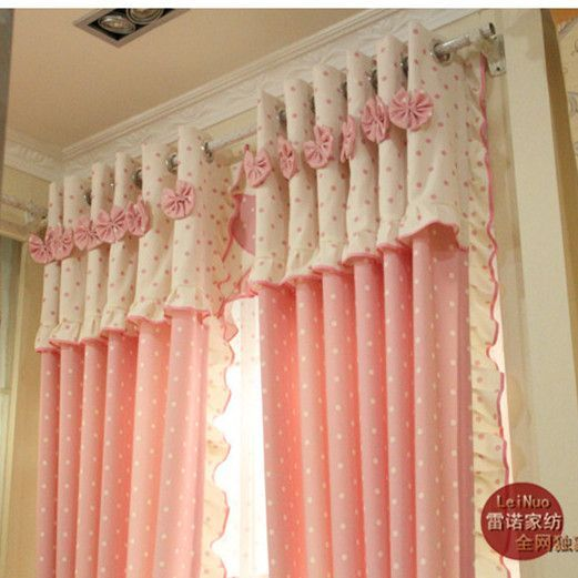 Free shipping Child real curtains girl princess curtains cloth rustic pink curtains finished product