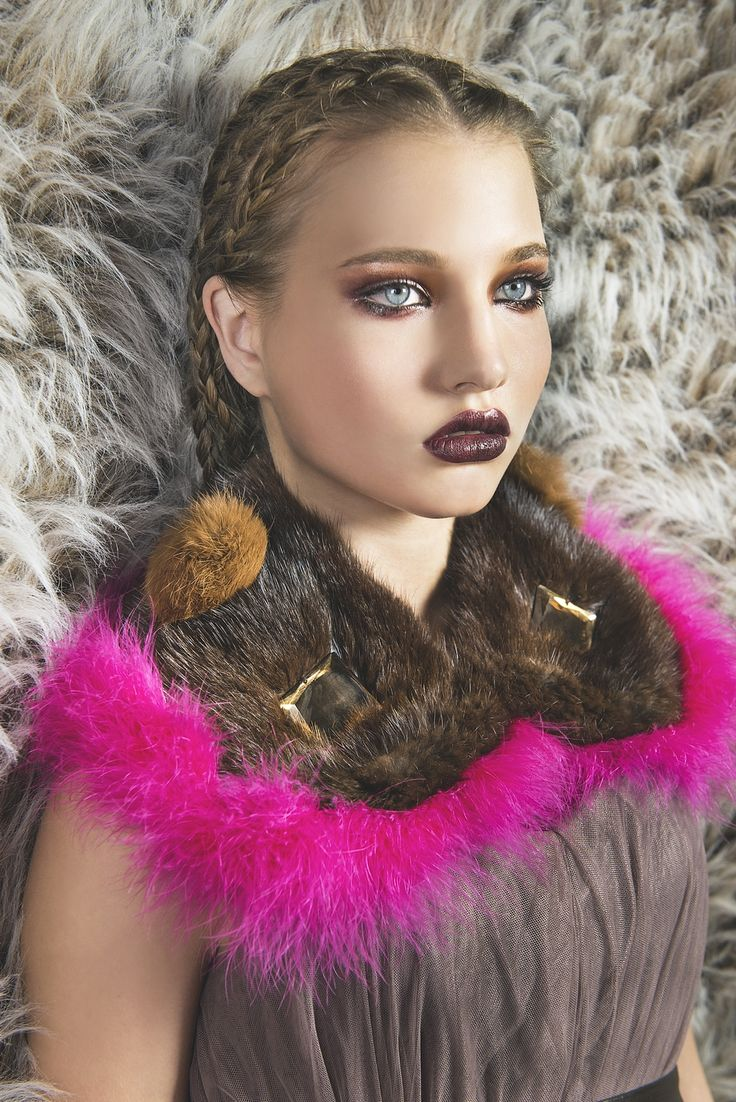 upcyled mink fur collar trimmed with marabou decorated with mirrors & pompoms