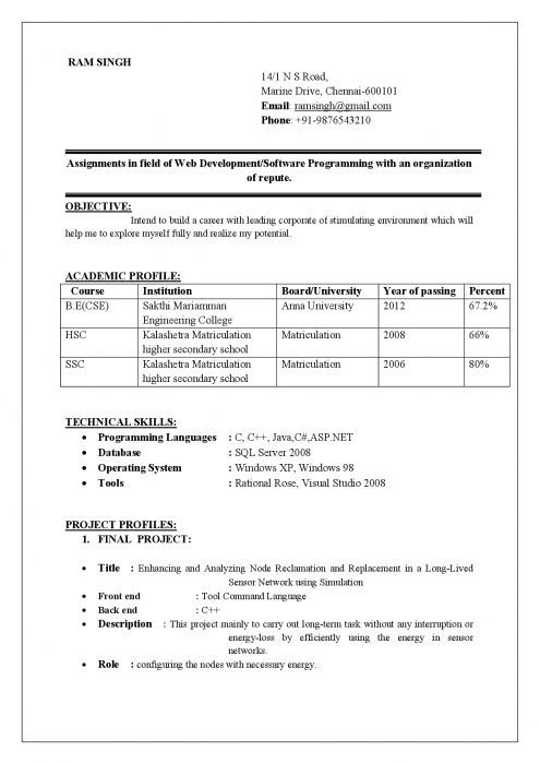 give me a sample resume format freshers
