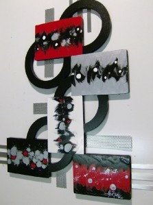 Red and Black Abstract wall Sculpture with Wood