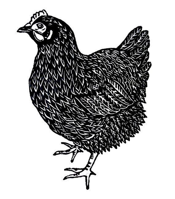 The Curious Hen chicken linocut relief print
