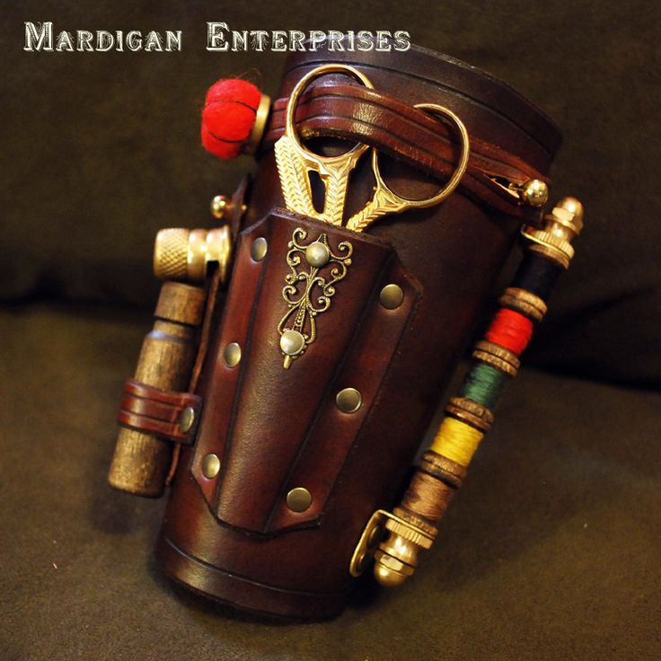 Tailor's Assistant - the Original functional leather steampunk sewing bracer. $150.00, via Etsy. --Dude, if I had a D character with profession Tailor--this is what I'd imagine him/her with. Totally yes.