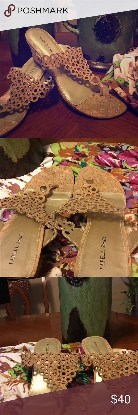 "Papell Studio tan wedge sandals 2"" inch tan calista wedge sandal with gold circle at toe 10/10 quality papell studio Shoes Wedges"