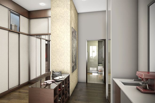Closet with 'midnight bar' with coffee machine, wet bar and small refrigerator