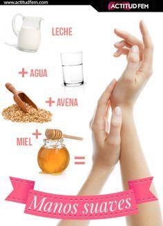 Mascarilla para manos con 4 ingredientes: 3 tazas de leche + 2 tazas de agua + 4 tazas de avena + 2 cucharadas de miel