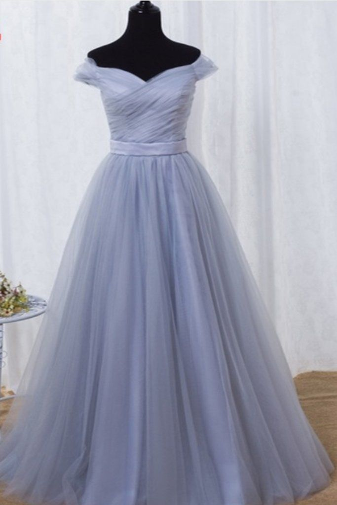6b6177d7b7 Simple blue gray tulle long A-line senior prom dresses with sleeves ...