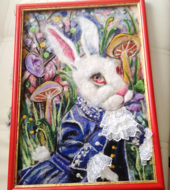 Check out this item in my Etsy shop https://www.etsy.com/ru/listing/500816488/wool-picture-handmade-white-rabbit-alice
