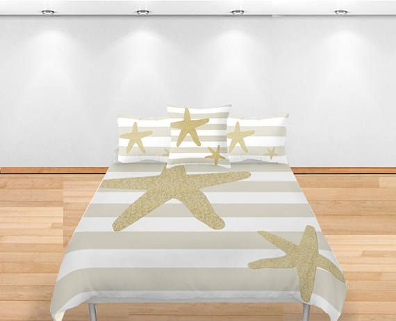 Nautical Duvet Cover  Striped Duvet  Starfish nautical