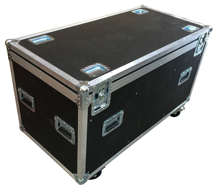 Black Euro 4 foot Road Trunk with 8 handles, 2 dividers, 4 castors, 1 label dish and Stacking Cups Options from Best Flight Cases