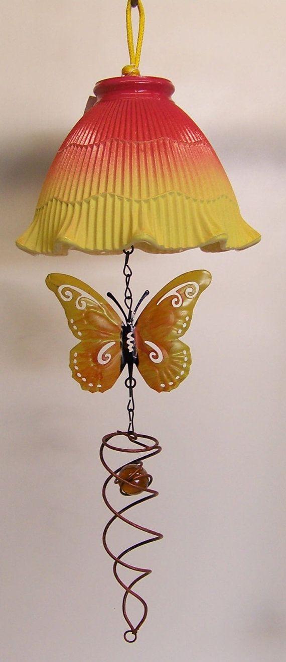 Yellow Light Shade Patio Decor Glass Globe by handcreated4u