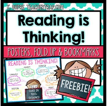Reading Comprehension Posters, Bookmarks and Fold up! Handy printables and inspiration for teaching reading comprehension strategies.  Who is This For? Teachers looking for a simple graphic of metacognitive reading comprehension strategies.