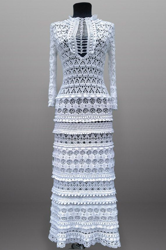 Eliza. Crochet dress for women, vintage-style dress, evening dress. White maxi crochet dress for wedding or special occasion. Made to order