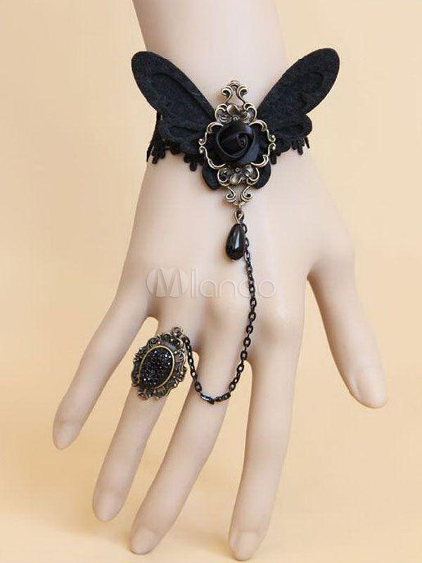 Bracciale in Lolita gotica farfalla nera cotone Blend - Milanoo.com