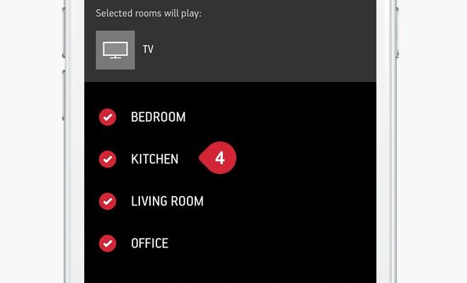 screen shot of sonos app grouping page