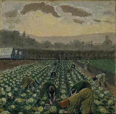 Evelyn Dunbar: 'Picking Sprouts - Monmouthshire'