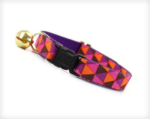 "Pet Collar - Cat Collar - ""Maven"" - Mod Geometric Triangle Pattern W/ Pink, Orange & Purple"