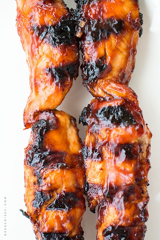 BBQ Chicken Tenderloin Kabobs - Just 5 ingredients, this is the perfect grilled chicken! From dearcrissy.com.