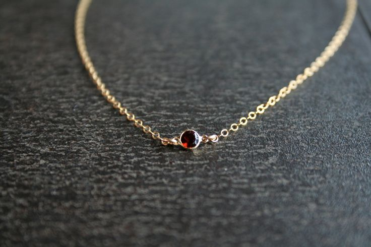 Gold Garnet Necklace - Personalized Tiny January Birthstone Gemstone Jewelry