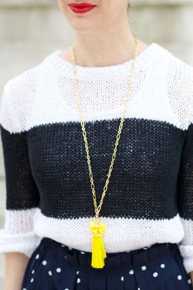 polka dot midi skirt, colorblock sweater, ankle strap pumps, tassel necklace