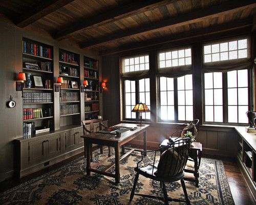 Beautiful Home Library Content In A Cottage Lofts