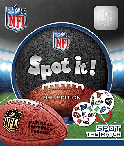 MasterPieces League Version Nfl Spot It  NFL edition comes with a variety of unique symbols for you to identify and match from card to card  Symbols represent your favorite NFL teams and the game of football  Includes 55 unique cards and five different mini-games  NFL League edition brings a football spin to a family favorite game