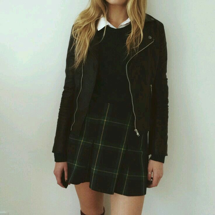 White Button-up • Black Top • Plaid Skirt • Biker Jacket • Thigh-highs