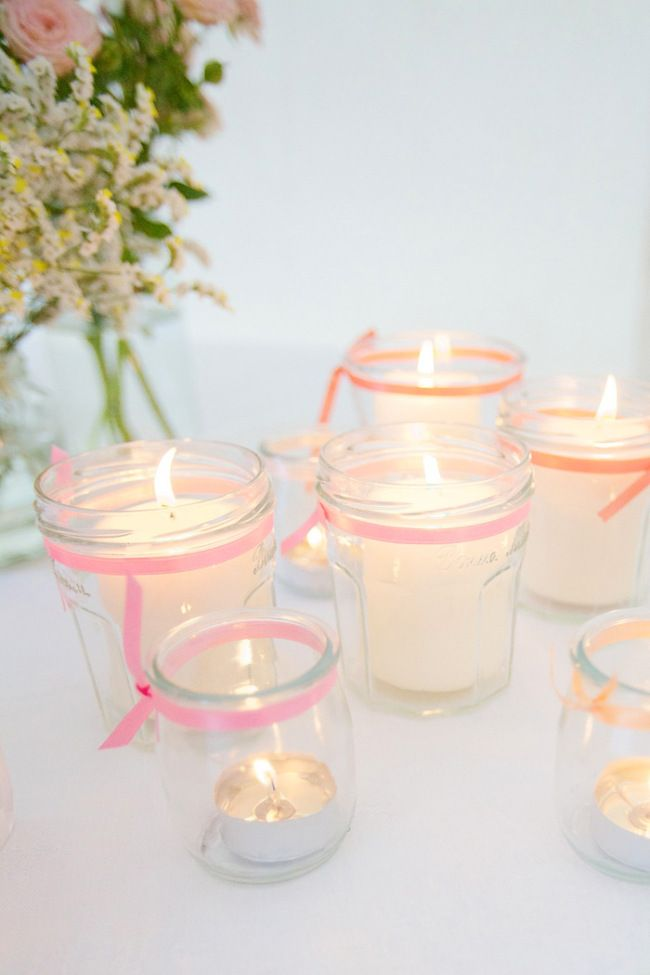 Photophore Diy Petit Pot De Yaourt En Verre Deco Mariage Pinterest Wedding Candle