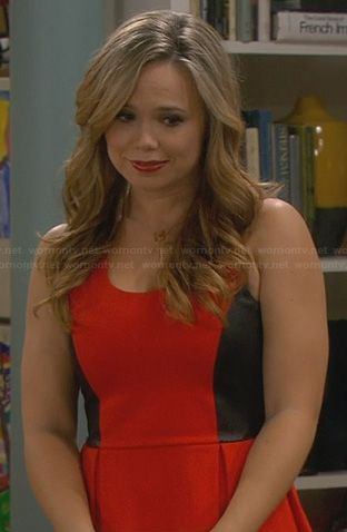 Kristin's red dress with black leather panels on Last Man Standing. Outfit Details: http://wornontv.net/24247/ #LastManStanding