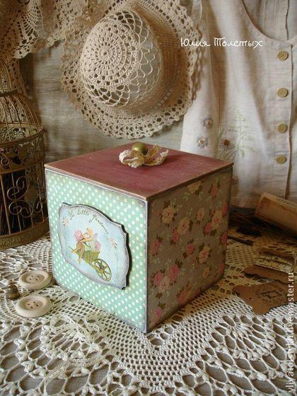 Коробка для рукоделия в стиле Тильда - мятный,короб для хранения,короб