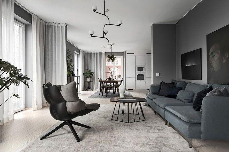 Жизнь в сером: стильные апартаменты в Стокгольме (120 кв. м) | Пуфик - блог о дизайне интерьера