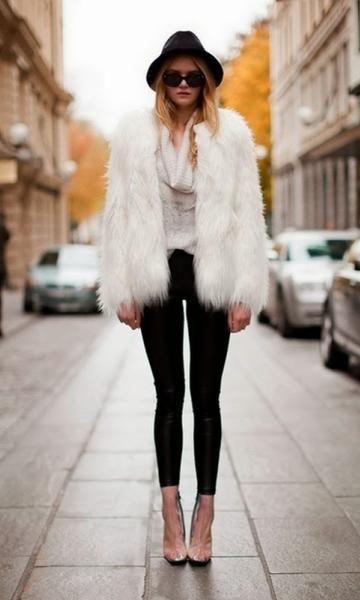 Look: Casaco de Pelo - Moda it | Moda It  Casaco de Pelo Branco + Legging Preta + Chapeu Preto
