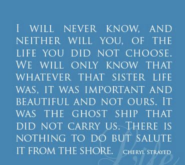 Wild, Cheryl Strayed quotes: https://www.goodreads.com/author/quotes/155717.Cheryl_Strayed