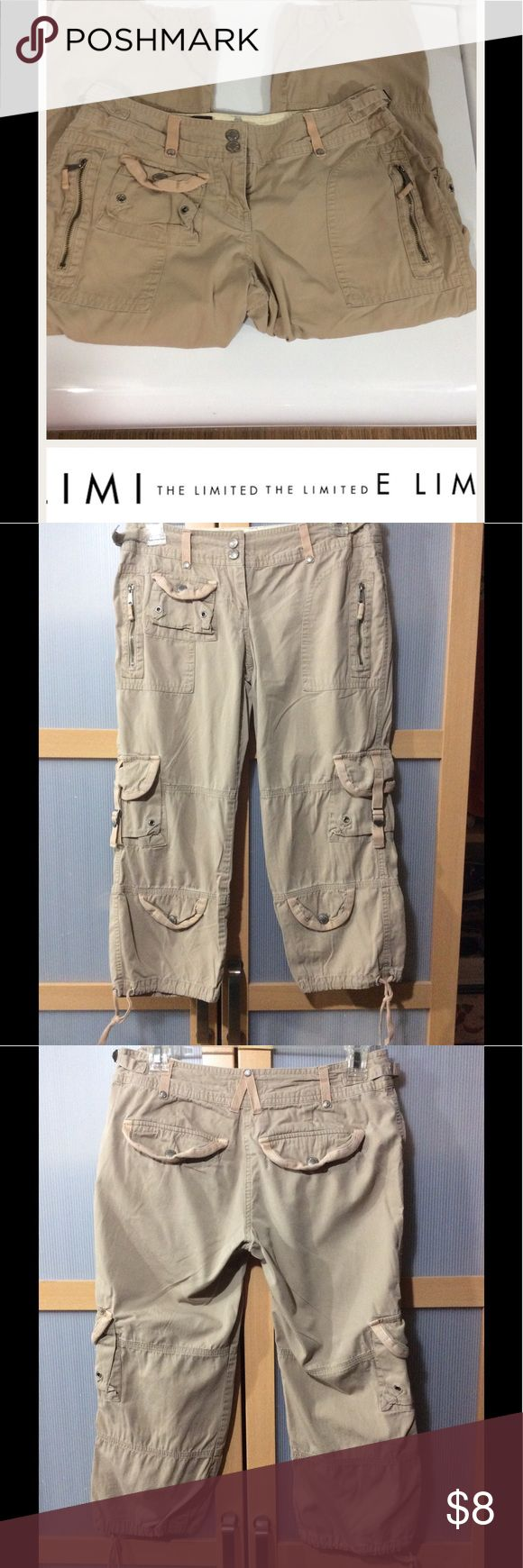 The Limited capris Light khaki color Capri/cargos,  rise 7, inseam 20in all zippers and snaps work, one small stain on belt loop please see last picture. The Limited Pants Capris