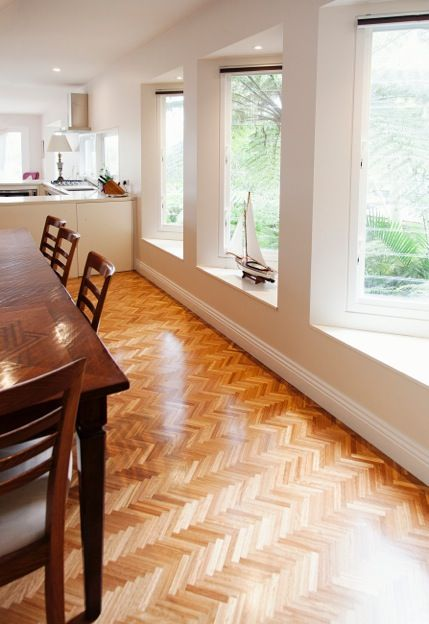 Blackbutt Mosaic Finger Parquetry in the popular Herringbone pattern in this Clareville Home, NSW. Gorgeous views, and lovely interior.