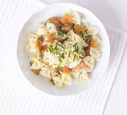 Creamy salmon & chive bows  http://www.bbcgoodfood.com/recipes/2358638/creamy-salmon-and-chive-bows#