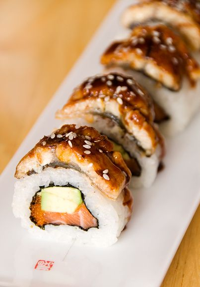 Unagi and avocado sushi--my favorite!  I think of eel as the bacon of the sea.